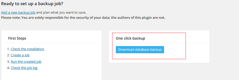 Super fast WordPress database backup with BackWPup