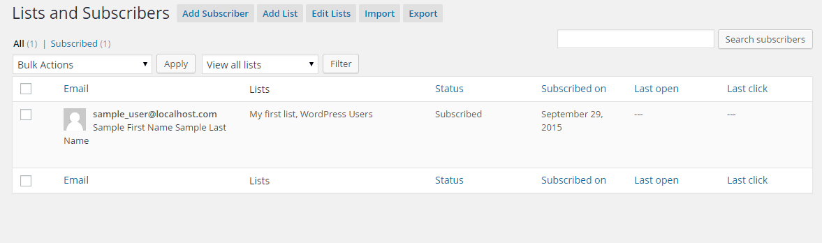 Edit the subscribers to your WordPress newsletter in the Subscribers subsection of MailPoet