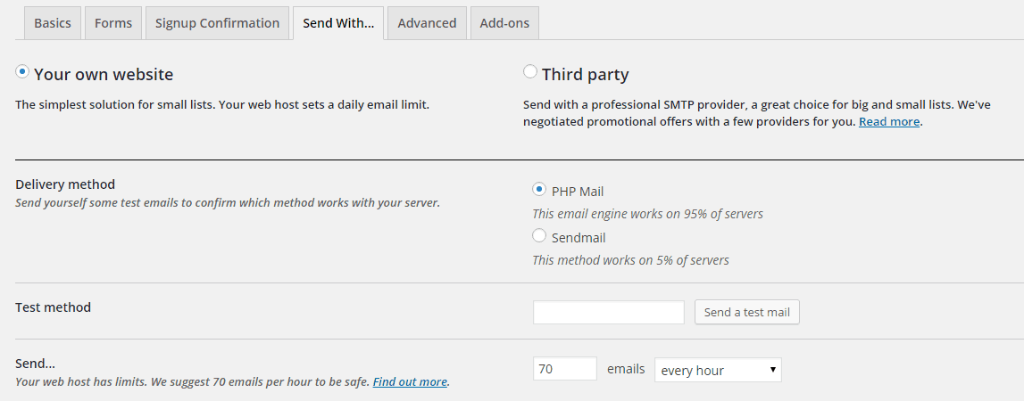 The Send with tab of the MailPoet Settings