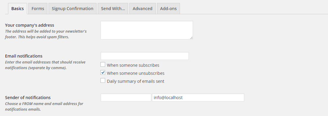 The Basics tab of the MailPoet Settings