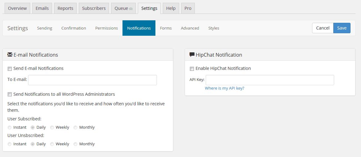 SendPress Settings Tab