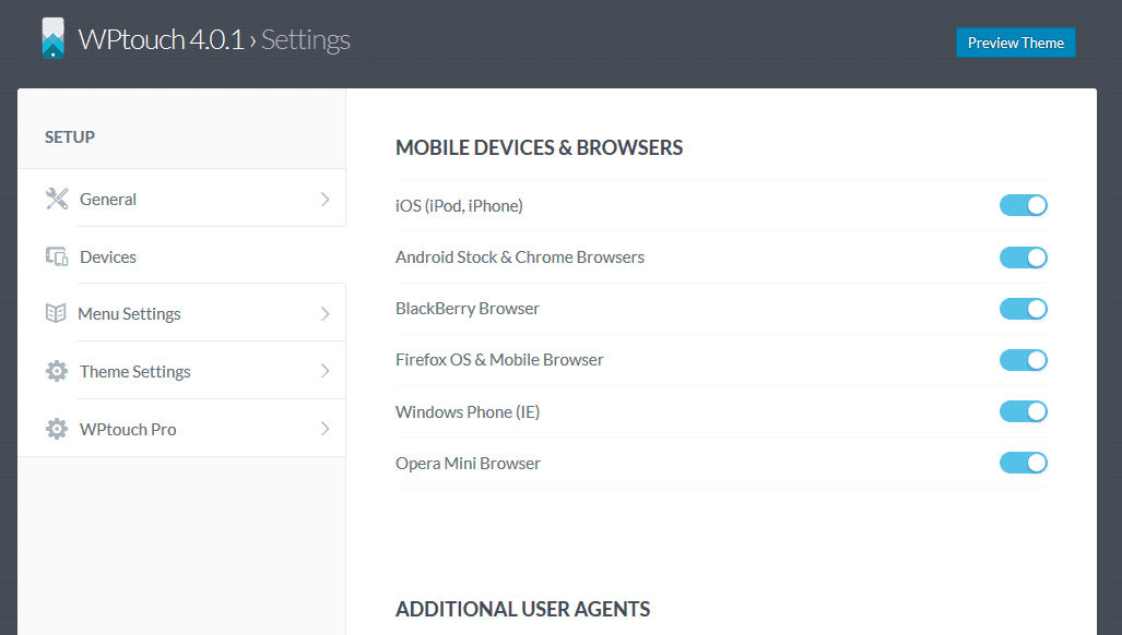 WPtouch Devices Settings