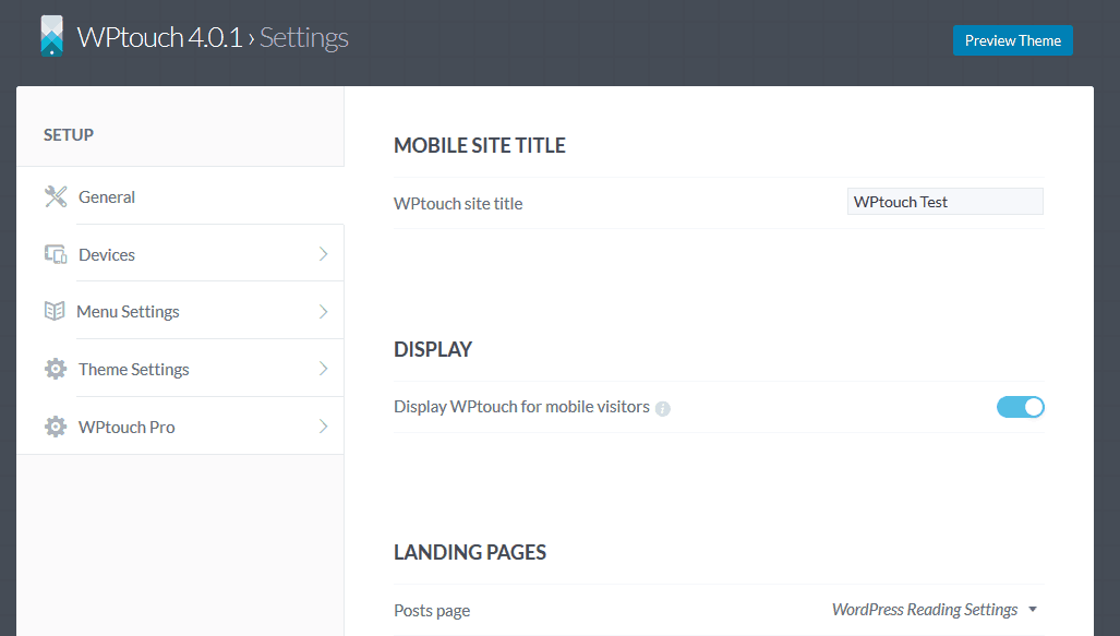 WPtouch General Settings