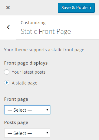 Customize-Static Front Page