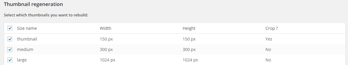 Simple Image Sizes Settings