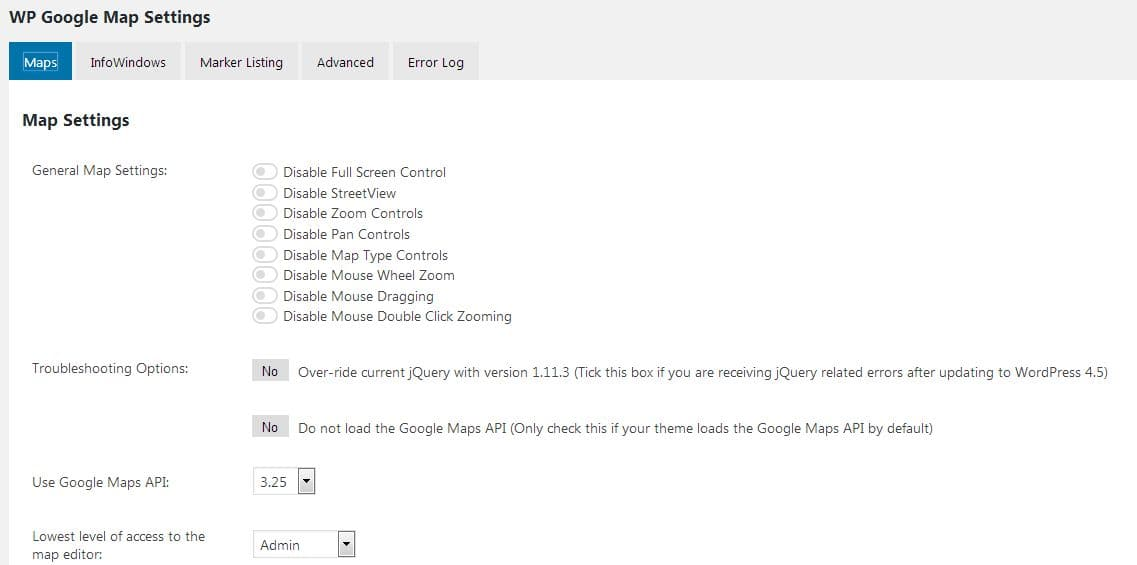 WP Google Maps settings