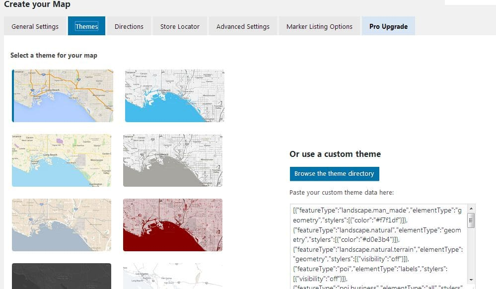 WP Google Maps allows you to create a custom map with a custom theme