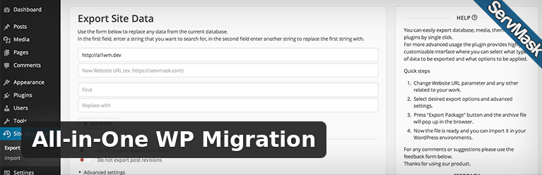 All-in-One WP Migration the user-friendly solution for WordPress transfers and backups.