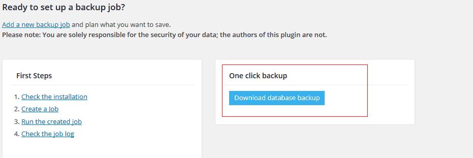 Super fast WordPress database backup with BackWPup