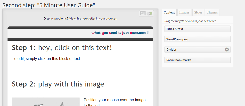 Edit the MailPoet Newsletters using the WordPress visual editor and drag&drop