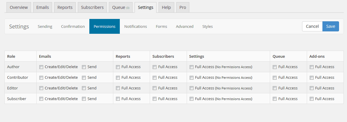 SendPress Settings Tab