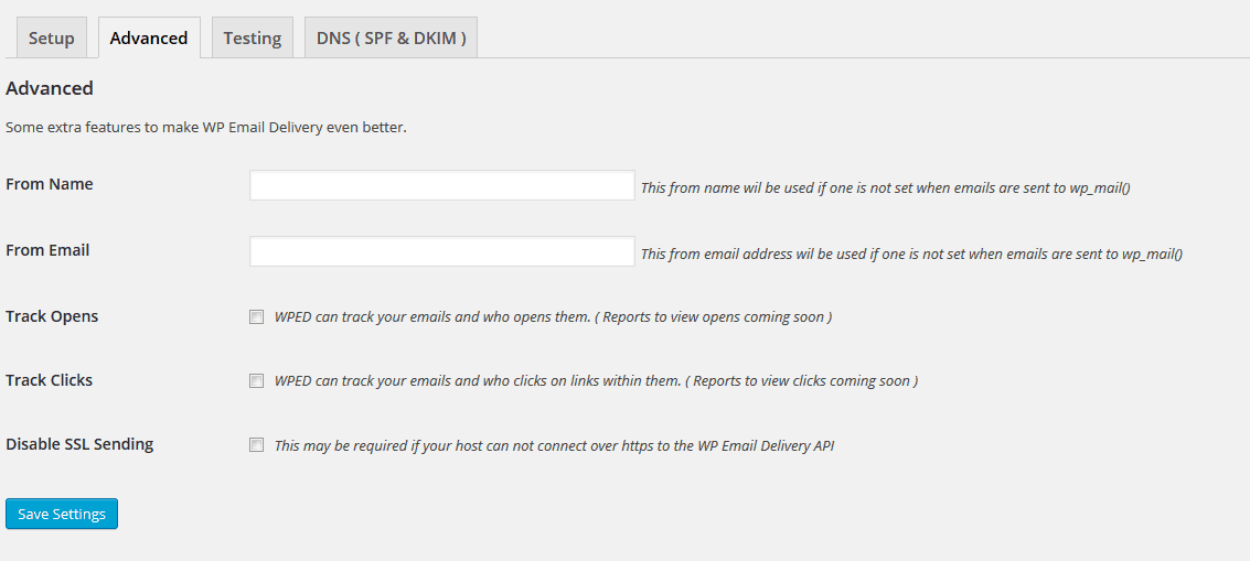 WP Email Delivery Advanced Settings