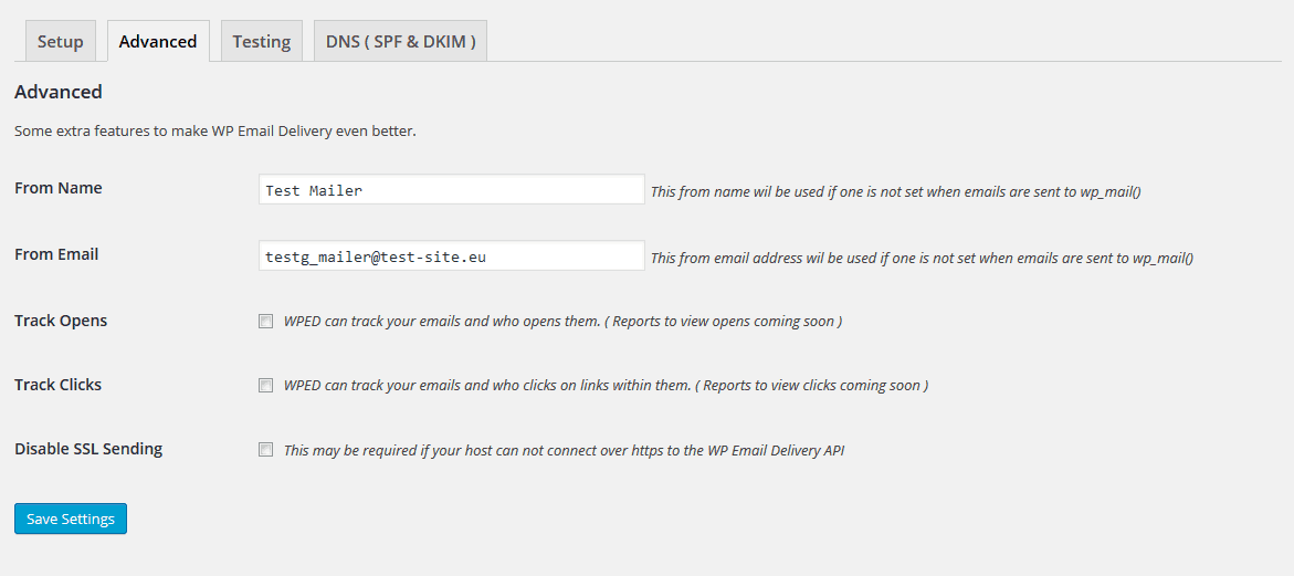 WP Email Delivery Advanced settings with sample data