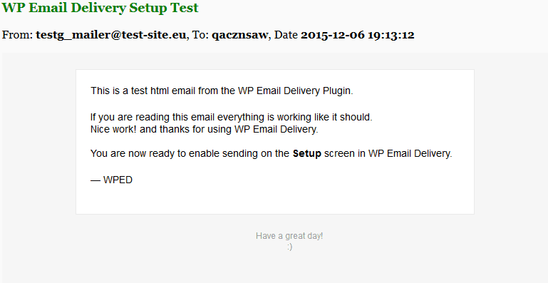 WP Email Delivery Test Email