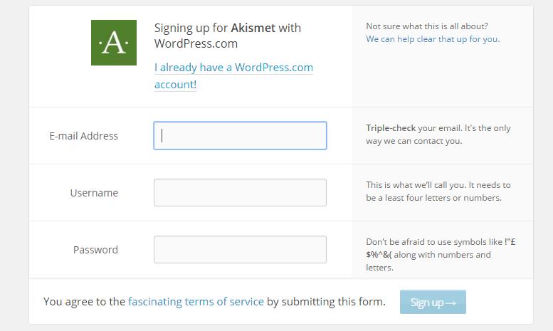 Akismet-sign-up