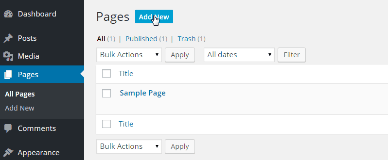 Pages-All Pages-Add New