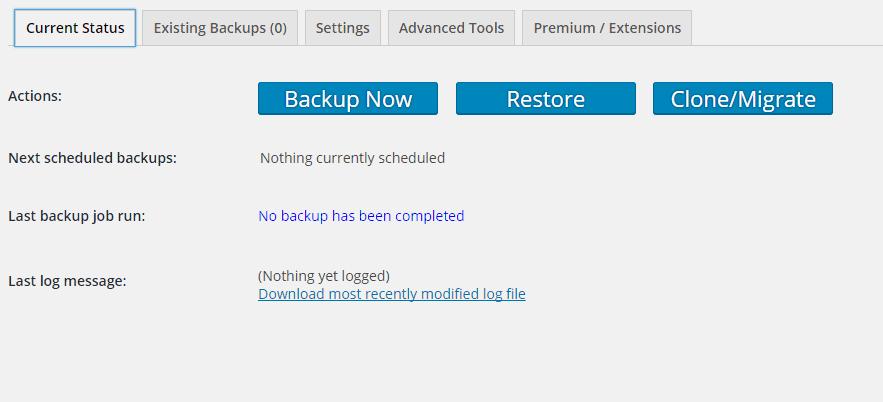 UpdraftPlus-Current Status