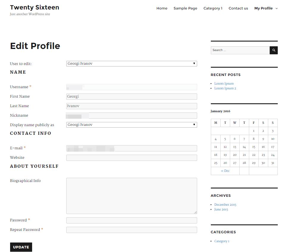 profile-builder-front-end-edit profile