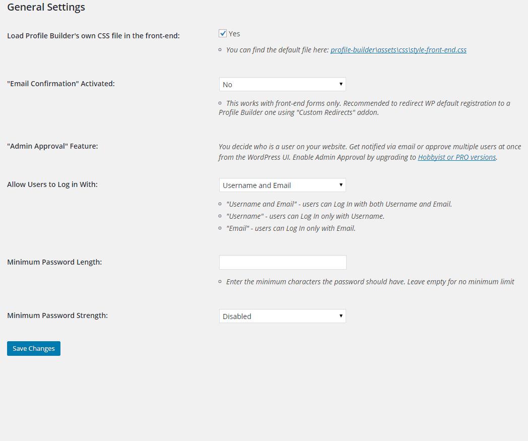 profile-builder-general-settings