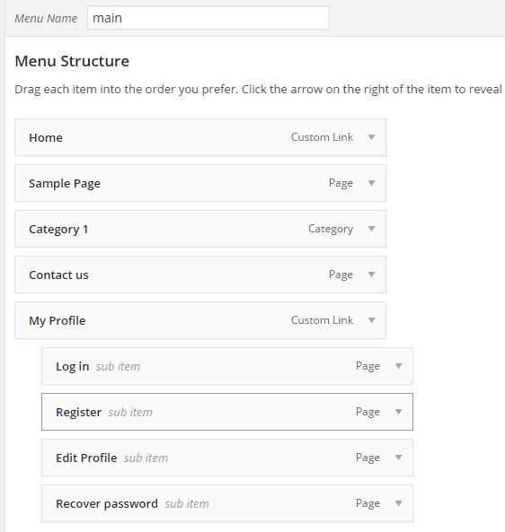 profile-builder-menu-creation