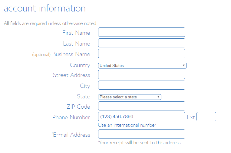 Bluehost account information