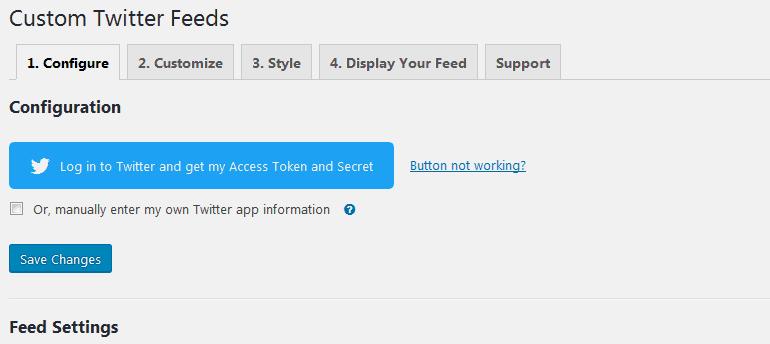 The settings options for Custom Twitter Feeds