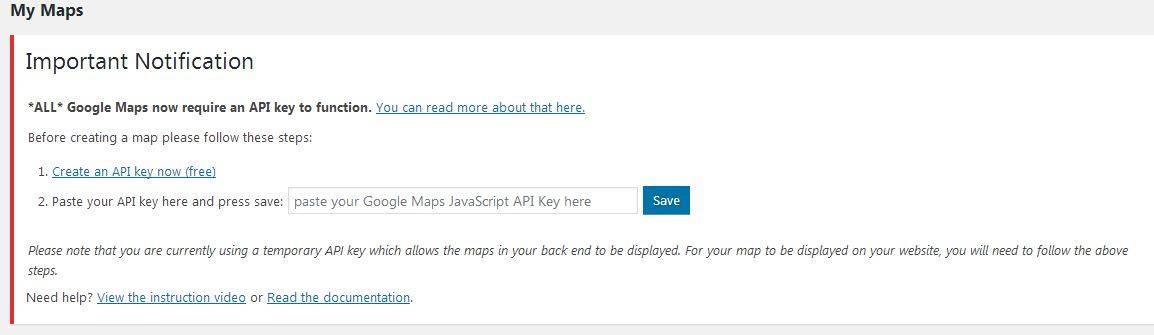 Add API keys for WP Google Maps