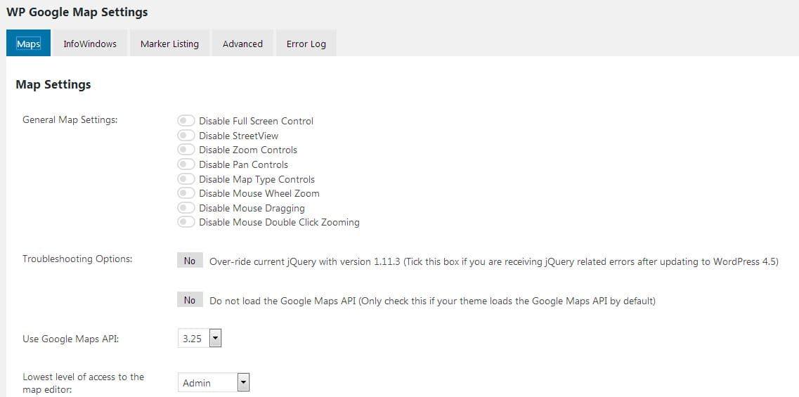 WP Google Maps settings